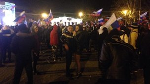 Almost midnight here in #Sevastopol the celebrations continue amongst the pro #Russia supporters #Crimeareferendum