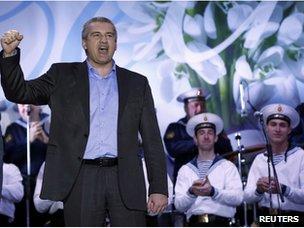 Crimean Prime Minister Sergei Aksyonov celebrates