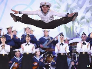 Artists of the Russian Black Sea fleet dance and music groups perform for pro-Russian people celebrating in Lenin Square, in Simferopol, Ukraine, on 16 March 2014.