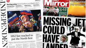 Composite image of front pages of the Independent and Daily Mirror - 17/03/14