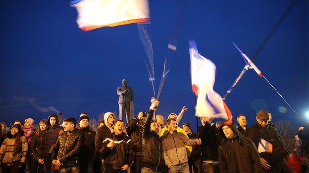 People in Lenin Square, Ukraine