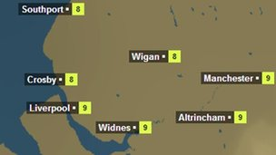 BBC Weather graphic for Monday 17.03.14