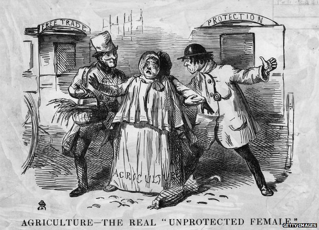 A cartoon showing a bucolic woman labelled 'Agriculture' being pestered by two man, 'Free Trade' and 'Protection' representing Brough and Disraeli. Punch - pub. 1846