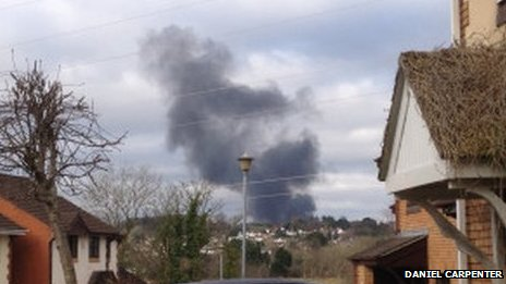 Fire as seen from Whitchurch