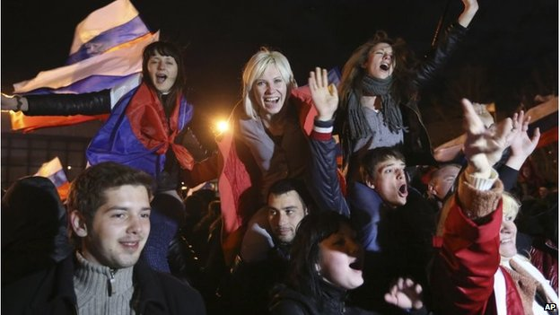 Thousands celebrated the results in Crimean towns on Sunday night. Photo: AP