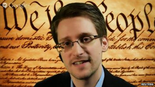 Screengrab of Edward Snowden addressing the SXSW festival