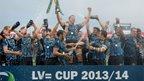 Dean Mumm lifts the LV= Cup trophy