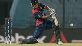 Nepal cricketer Gyanendra Malla plays a shot during the ICC Twenty20 World Cup second qualifying cricket match between Hong Kong and Nepal at the Zohur Ahmed Chowdhury Stadium in Chittagong
