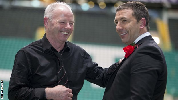 Aberdeen chairman Stewart Milne (left) and Dons boss Derek McInnes