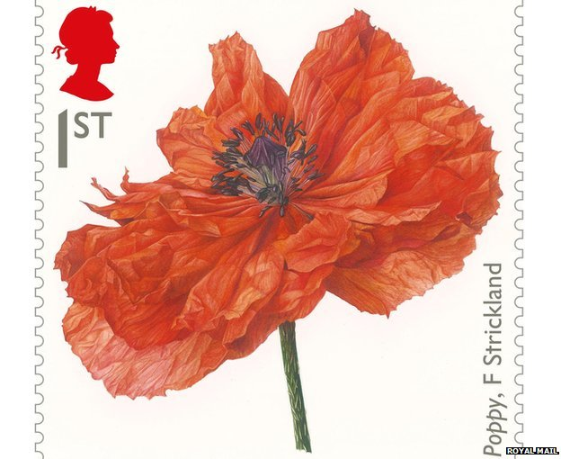 Stamp featuring painting of a poppy by Fiona Strickland