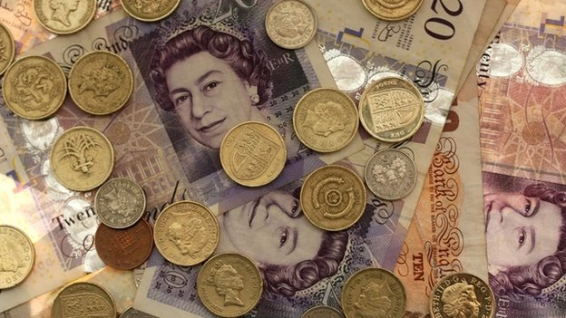 Pounds notes and coins