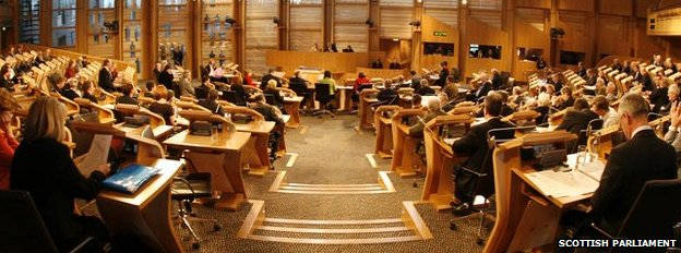 Main debating chamber of the Scottish Parliament