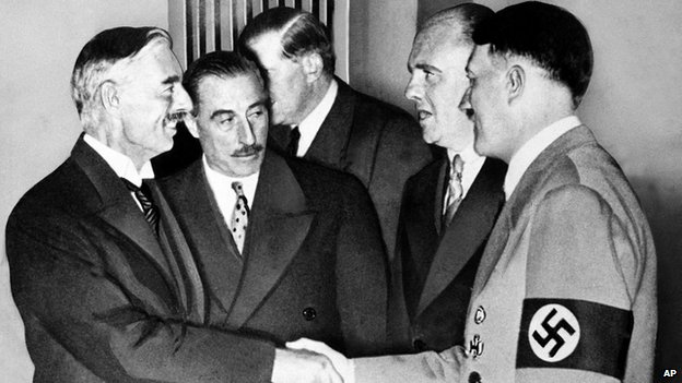 Neville Chamberlain meets Adolf Hitler in Munich in 1938
