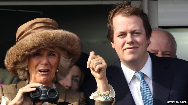 Tom Parker Bowles and the Duchess of Cornwall at the Cheltenham Festival in March 2014