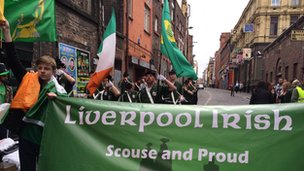 Celebrations on Saint Patrick's Day in Liverpool