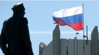 A Russian flag flutters on Sevastopol city hall on