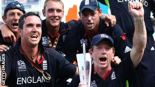England celebrate winning the World Twenty20 in 2010