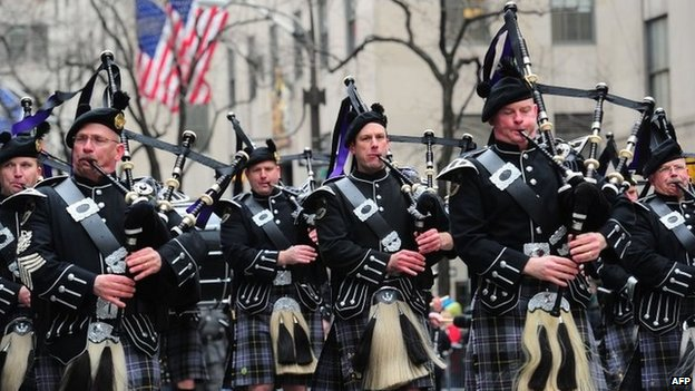 Participants march in the annual St Patrick's Day parade in New York on 17 March 2014