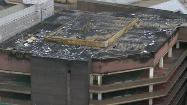 Fire damage to Assembly Rooms car park
