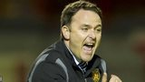 Albion Rovers manager James Ward urges his men on as they lose 2-0 to Rangers