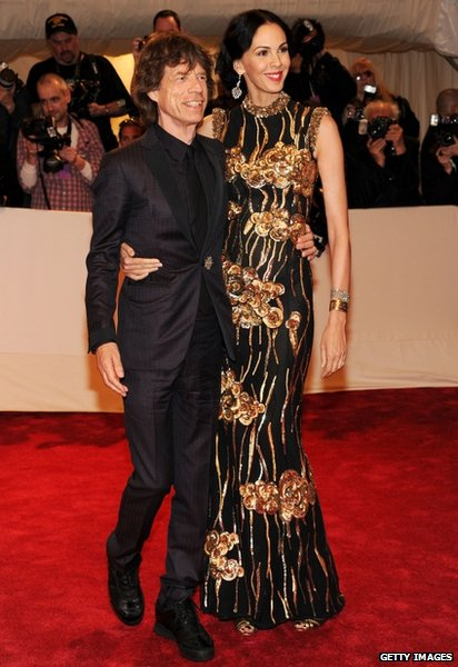 Musician Mick Jagger (left) and designer L'Wren Scott appeared at the Metropolitan Museum of Art in New York City on 2 May 2011