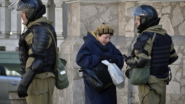 Security forces in Simferopol, Crimea