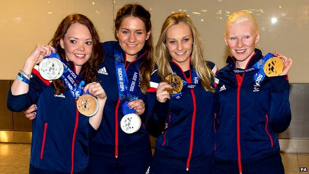 Jade Etherington and her guide Caroline Powell  with Charlotte Evans  and Kelly Gallagher