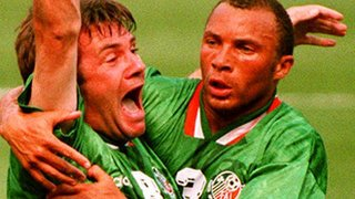 Ray Houghton celebrates scoring against Italy at the 1994 World Cup