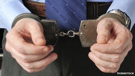 Smart man in handcuffs
