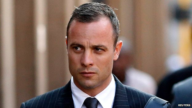 Oscar Pistorius arriving at the court in Pretoria