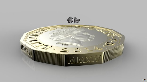 Side view of new pound coin