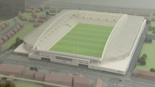 A three-dimensional model of plans for the development of Casement Park