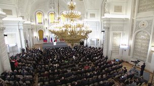 Kremlin hall during President Putin's speech