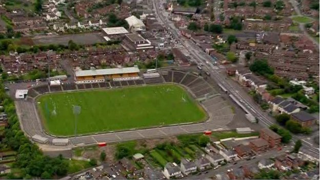 Aerial view of the existing Casement Park sports ground in west Belfast