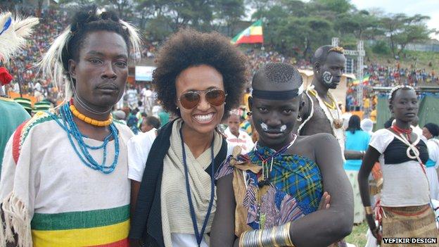 Fikirte Addis (centre) attending an Ethiopian cultural festival