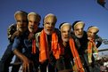 Supporters of Narendra Modi, the prime ministerial candidate for India's main opposition BJP, wear masks of their leader during a rally being addressed by Mr Modi in Chennai.
