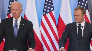 US Vice President Joe Biden at a press conference with Polish Prime Minister Donald Tusk