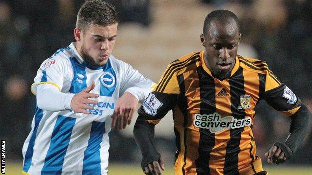 Brighton's Jake Forster-Caskey and Hull City's Sone Aluko