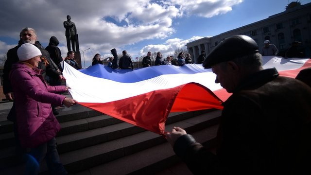 Pro-Russia demonstrators in Crimean capital Simferopol