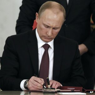 President Putin signing Crimea treaty