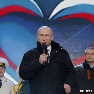 President Putin addresses a rally in Moscow's Red Square