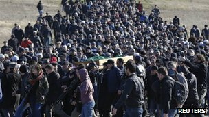 Funeral of Reshat Ametov (18 March 2014)