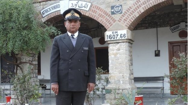 Shaukat Mehmood Hashmi, 58, the Station Master of the 1884 Attock Khurd train station