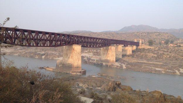 Railway bridge across the Indus