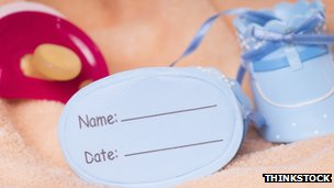 A baby's name tag
