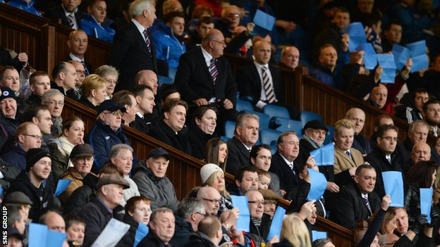 Rangers board members look on during a show of support for Dave King's plans at Ibrox
