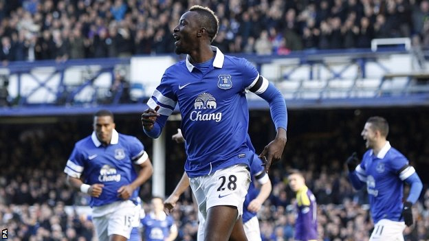 Lacina Traore celebrates scoring for Everton