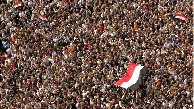 Protesters in Cairo's Tahrir Square, Egypt( 4 Feb 2011)