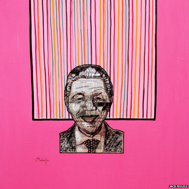 A painting featuring Nelson Mandela