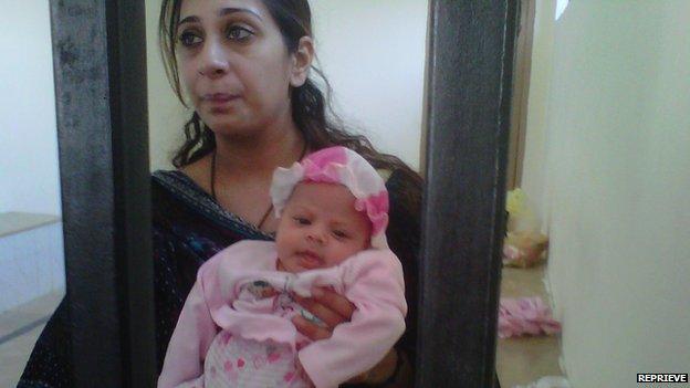 Khadija Shah with her baby